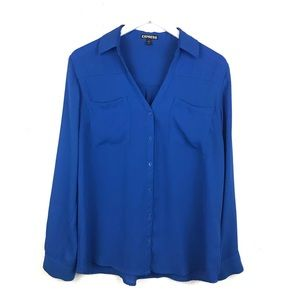 Express | Portofino Button Down Shirt Blue Sheer L